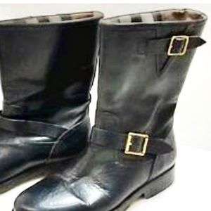 Burberry Leather Moto Ankle Boot Black 7.5